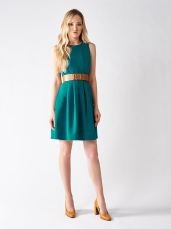 Short Sleeveless Dress Blu Ottanio - CFC0094260003B363