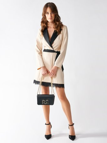 Blazer-style Dress with Lace White Wool - CFC0094107003B037