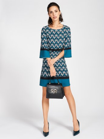 Short Printed Dress var blue ottanio - CFC0094209003B444
