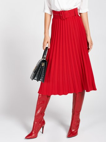 Midi Plissé Skirt Red - CFC0093898003B081