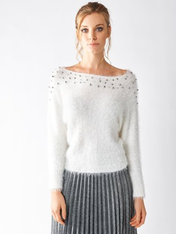 Furry Sweater with Studs White Cream - CFM0009359003B036