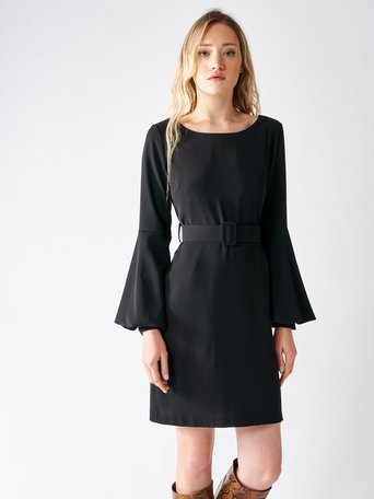 Short Dress with Puff Sleeves Black - CFC0095300003B001
