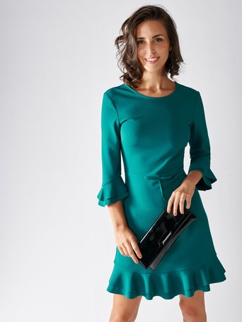 Short Dress with Ruffles Verde Pavone - CFC0095357003B520