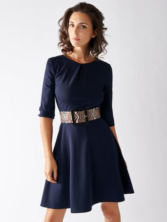 Short Milano Rib Dress Blue - CFC0095055003B041