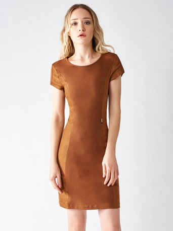 Sheath Dress with Suede Inserts brown tabacco - CFC0095315003B376