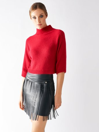 Angora Turtleneck Sweater Red - CFM0009309003B081