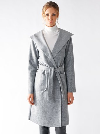 Hooded Cloth Coat Grey - CFC0095621003B241