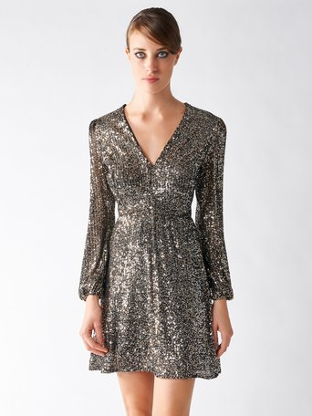 Embroidered Mini Dress with Sequins var silver - CFC0096095003B424