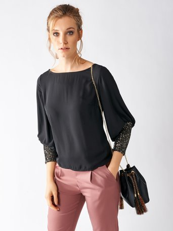 Blouse with lurex cuffs Black - CFC0017023002B001