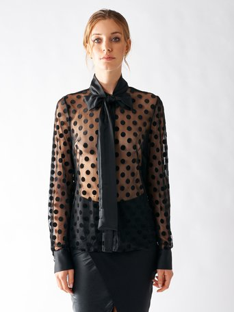 Polka Dot Tulle Shirt Black - CFC0016933002B001