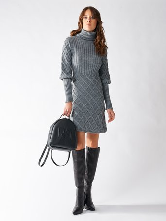 High-necked sweater dress Grey - CFM0009562003B241