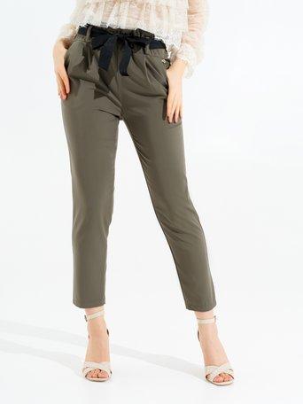 Pantalon Taille Haute avec Nœud Vert Militaire - CFC0097089003B159