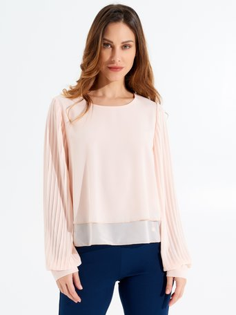 Blouse with Plissé Sleeves Pink - CFC0097319003B221