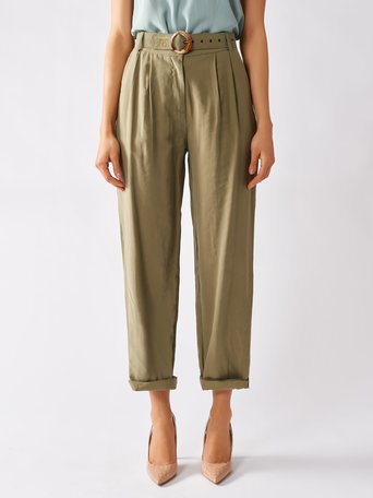 High-rise Viscose Trousers Militar green - CFC0097004003B159