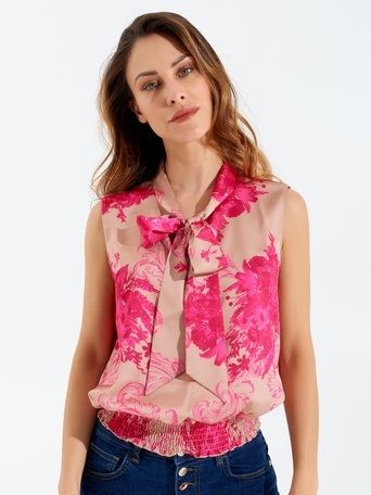 Georgette Tank Top Printed with Bow var fuxia - CFC0097504003B447