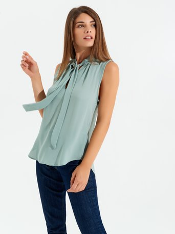 Georgette Sleeveless Blouse green mint - CFC0096687003B411