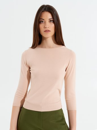 Viscose Sweater with 3/4 Sleeves Pink - CFM0009622003B221