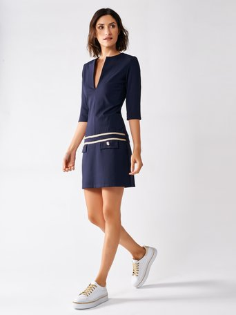 Short Dress with Profiles and Golden Buttons Blue - CFC0096931003B041