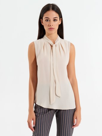 Georgette Sleeveless Blouse Beige - CFC0096687003B101
