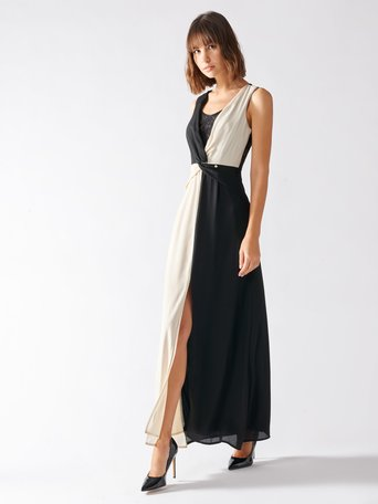 Bicolor Long Dress var white - CFC0097285003B434