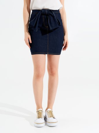 Denim Skirt with Bow Blue - CFC0096736003B041