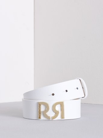 Leather Belt with Monogram White - ACV0012466003B021