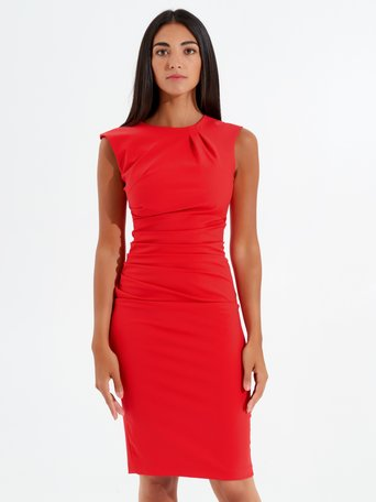 Robe Fourreau sans Manches Rouge - CFC0096723003B081