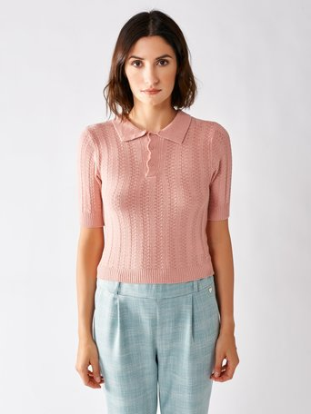 Short-sleeved Viscose Sweater Pink - CFM0009666003B221