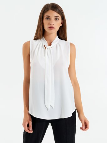 Georgette Sleeveless Blouse White Cream - CFC0096687003B036