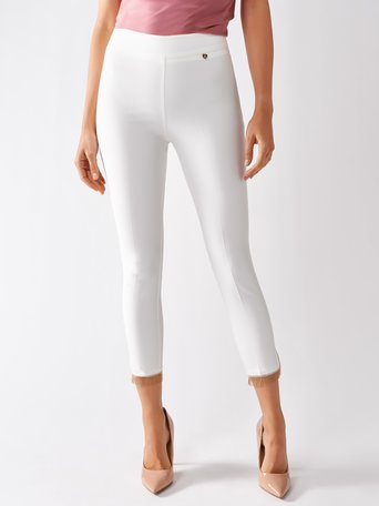 Pantalon Skinny avec Applications Blanc Creme - CFC0097032003B036