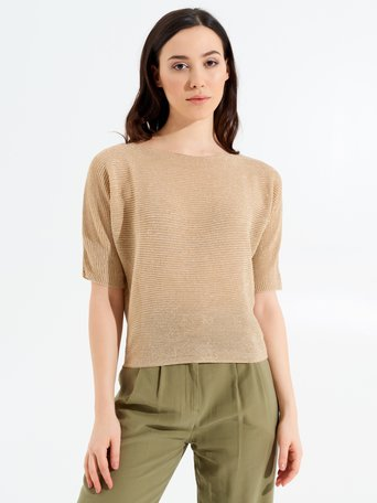 Viscose Sweater with Bateau Neckline Gold - CFM0009660003B266