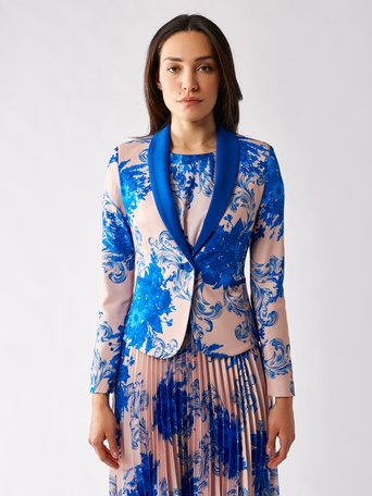 Floral Jacket var blue china - CFC0097498003B442