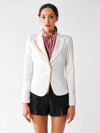 Shaped jacket with applications White Cream - CFC0096988003B036