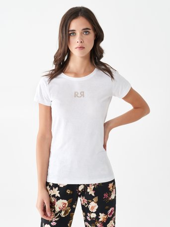 Cotton T-Shirt with Embroidered Logo White - CFC0097190003B021