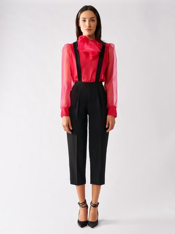 Cropped Trousers with Suspenders Black - CFC0096996003B001