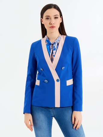 Two-tone Double-Breasted Jacket var blue china - CFC0097445003B442