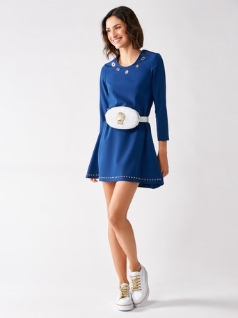 Short Trapeze Dress with Rings and Studs Blue - CFC0097255003B041