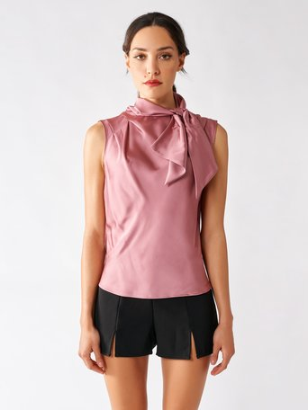 Satin Tank Top with Bow Pink - CFC0097226003B221