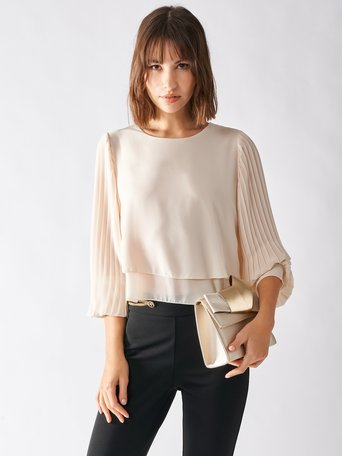 Blouse with Plissé Sleeves Ivory - CFC0097319003B038