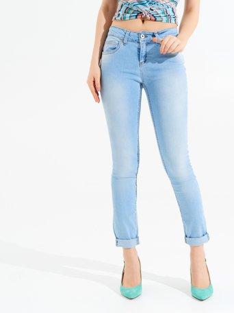 Jeans Skinny con Risvolto Celeste azzurro - CFC0097208003B075