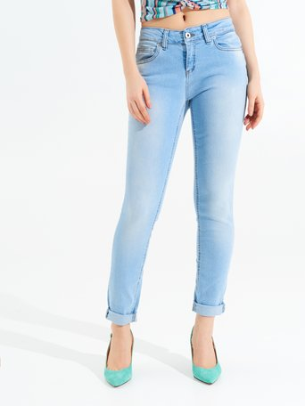Skinny Jeans with Turn-ups Sky Blue - CFC0097208003B075