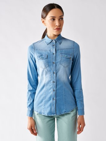 Camicia in Denim Blu Indaco - CFC0096868003B378