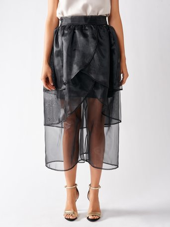 Organza Flounced Skirt Black - CFC0097049003B001