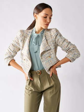 Short Double Breasted Tweed Jacket var paper sugar - CFC0096908003B427