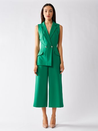 Double-breasted Cropped suit Green - CFC0097042003B141