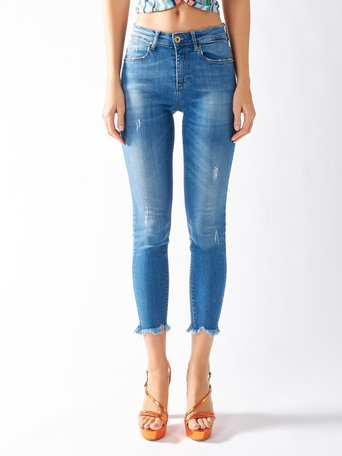 Skinny Jeans with Raw Edges Blue - CFC0096857003B041
