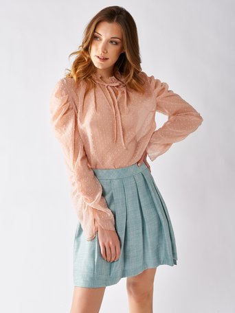 Long-sleeved Plumetis Blouse Pink - CFC0097206003B221