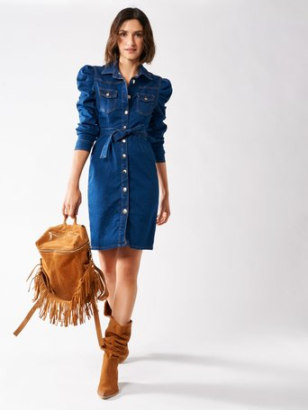 Abito Corto in Denim Blu - CFC0096860003B041