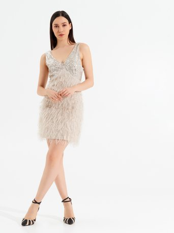 Mini Dress Feathers and Sequins Beige - CFC0017161002B101