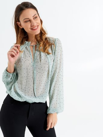 Long Sleeved Polka Dot Blouse var green mint - CFC0097321003B489